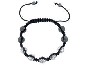 White Crystals on Black String Adjustable Bracelet