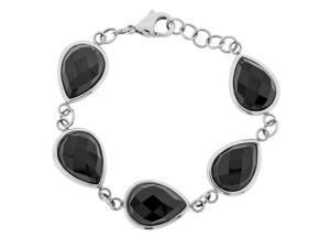 Ladies Stainless Steel Bracelet with Black Onyx