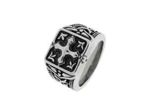 Stainelss Steel Cross Gents Ring-Size 9