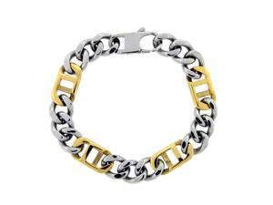 Stainless Steel Bracelet with 18KT Yellow Gold Plated 8.5""