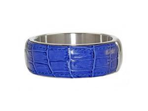 Stainless Steel Leather Blue Banlge 25 Mm Width