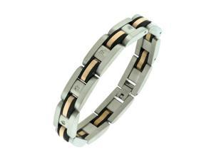 Men's Stainless Steel Rubber Bracelet with Rose Ion Plating