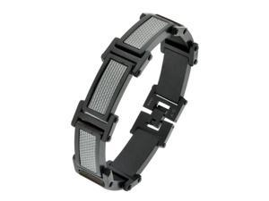 Stainless Steel Bracelet with Silver Carbon Fiber and Black Ion Plating
