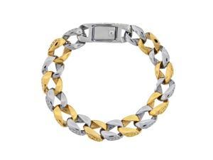 Men's Stainless Steel Bracelet with Gold Ion Plating