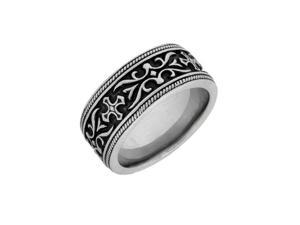 Stainless Steel Ring with Black Ion Plating-Size 8