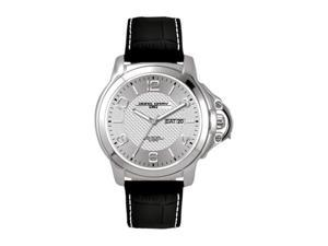 Jorg Gray Men's 1850 Series Stainless Watch - Black Leather Strap - Silver Dial - JG1850-18