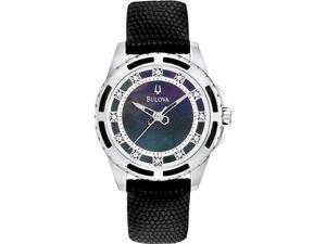 Bulova Black Mother of Pearl Dial Black Leather Strap Ladies Watch 98P118