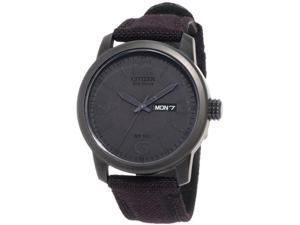 Citizen BM8475-00F Black Anodized Eco-Drive Black Dial Black Canvas Strap