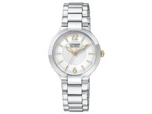 Citizen EP5984-52A Stainless Steel Firenza Eco-Drive Silver Dial Sapphire Gold Hands and Markers
