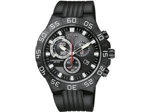 Citizen AT2095-07E Stainless Steel Case Black Dial Eco-Drive Quartz Chronograph Rubber Strap