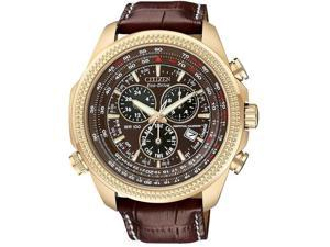 Citizen BL5403-03X Eco-Drive Perpetual Calendar Alarm Chronograph Brown Dial Brown Leather Strap