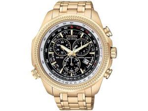 Citizen BL5403-54E Eco-Drive Perpetual Calendar Alarm Chronograph Stainless Steel Gold Tone Black Dial
