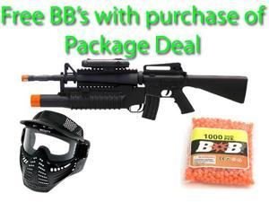 Mini Commando M16 Spring Rifle, M203 Spring Grenade Launcher, FPS-200 Fore Grip, Flashlight Airsoft Gun Package Deal