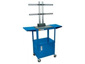 "LUXOR Adjustable Height Metal Cart with Safe (Royal Blue) (42""H x 24""W x 18""D) AVJ42CDL-LCD-RB"