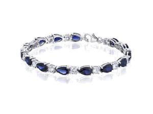 Perfect Allure: Pear Shape Blue Sapphire & White CZ Gemstone Bracelet in Sterling Silver