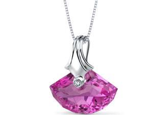 21.00 Ct. Shell Shaped Created Pink Sapphire Necklace in Sterling Silver