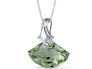 Oravo 13.00 cttw Shell Cut Green Amethyst Necklace in Sterling Silver