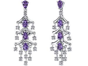 4.00 Ct. Pear Shaped Amethyst Dangle Earrings in Sterling Silver