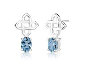 2.00 Carats Oval Shape Swiss Blue Topaz Earrings in Sterling Silver