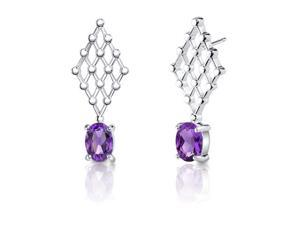 1.50 Carats Amethyst Oval Shape Earrings in Sterling Silver