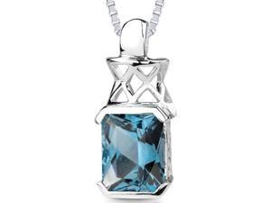 Oravo 5.00 ct Radiant Cut London Blue Topaz Psendant in Sterling Silver