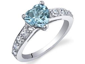 Dazzling Love 1.50 Carats Swiss Blue Topaz Ring in Sterling Silver Size 6