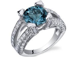 Boldly Glamorous 3.25 Carats London Blue Topaz Ring in Sterling Silver Size 6