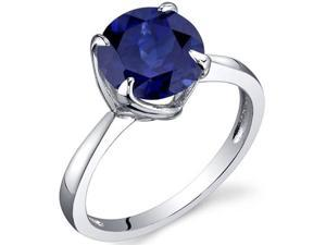 Sublime Solitaire 2.75 Carats Blue Sapphire Ring in Sterling Silver Size 9