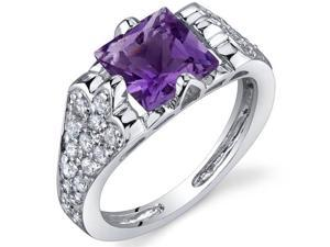 Elegant Opulence 1.50 Carats Amethyst Ring in Sterling Silver Size 8
