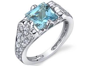 Elegant Opulence 1.75 Carats Swiss Blue Topaz Ring in Sterling Silver Size 6