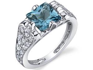 Elegant Opulence 1.75 Carats London Blue Topaz Ring in Sterling Silver Size 8