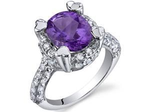 Royal Splendor 2.25 Carats Amethyst Ring in Sterling Silver Size 6