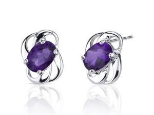 1.50 Ct.T.W. Genuine Oval Shape Amethyst in Pure Sterling Silver Earrings