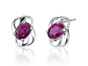 Classy 2.00 carats Ruby earrings in Sterling Silver