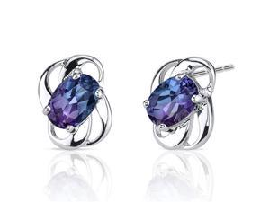 Classy 2.00 carats Alexandrite earrings in Sterling Silver