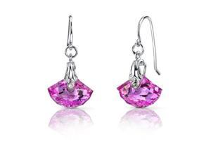 13.00 Ct. Shall Shaped Created Pink Sapphire Fishhook Earrings in Sterling Silver