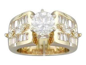 EGL Certified 2.90 cts Diamond Engagement Ring 14Kt Yellow Gold