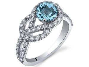Gracefully Exquisite 1.00 Carats Swiss Blue Topaz Ring in Sterling Silver Size 8