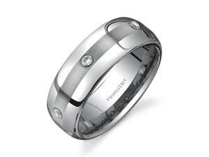 Rounded Edge Three Stone design CZ Diamond 8 mm Comfort Fit Mens Tungsten Wedding Band Ring Size 8.5