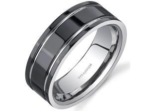 Comfort fit Mens Black Titanium 8 mm Wedding Band Available Size 9