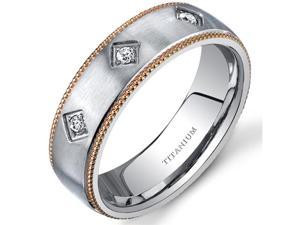 Mill grain Style Titanium 3 Stone Womens Gold Tone 6 mm Wedding Band Available Size 5