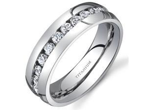 Titanium Womens 6 mm Eternity Band with Cubic Zirconia Available Size 7.5
