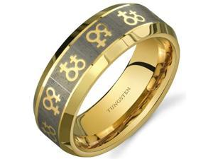 Gay Pride Double Venus Symbol 8 mm Comfort Fit Gold Tone Tungsten Wedding Band Ring Size 8