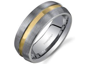 Rounded Edge 8 mm Comfort Fit Mens Rose Gold Tone Tungsten Wedding Band Ring Size 10