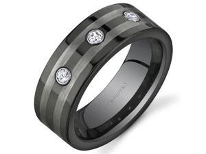 3 Stone 8 mm Comfort Fit Mens Black and Silver Tone Tungsten Wedding Band Ring Size 8.5