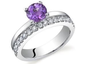 Sleek and Sparkling 0.75 carats Amethyst Ring in Sterling Silver Size 9