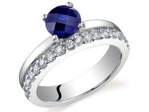 Sleek and Sparkling 1.25 carats Sapphire Ring in Sterling Silver Size 9