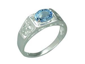 1.50 Carats Oval Shape Genuine Swiss Blue Topaz Sterling Silver Ring