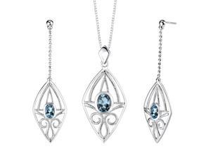 4.25 carats Oval Shape London Blue Topaz Pendant Earrings Set in Sterling Silver