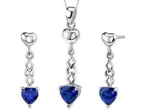 Cupid Duet 3.50 carats Heart Shape Sterling Silver Sapphire Pendant Earrings Set